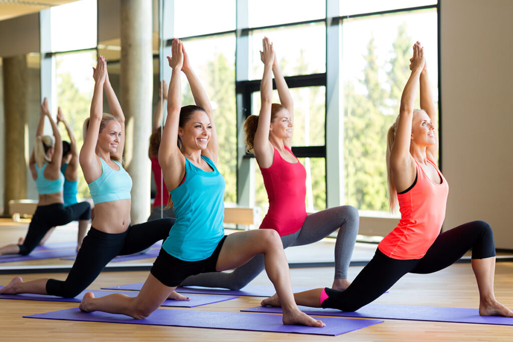 yoga class lunge position